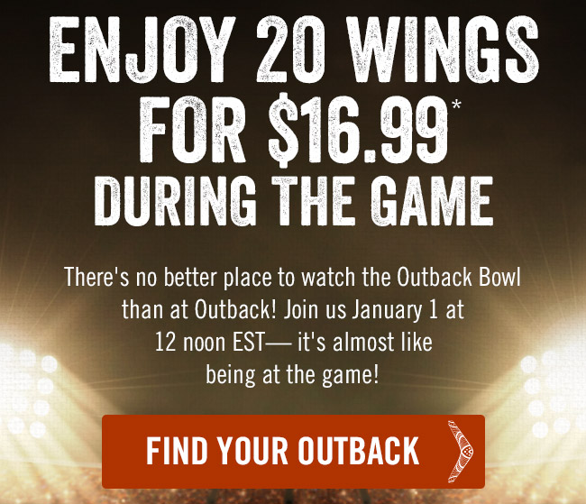Enjoy 20 Wings for $16.99* during the game.