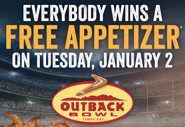 Everybody wins a FREE APPETIZER* on Tuesday, January 2