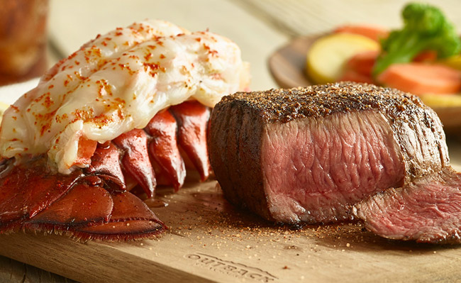Signature Center-Cut Sirloin & Lobster: We pair our tender, seasoned and seared Center-Cut Sirloin with a steamed lobster tail.