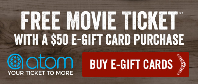 Free movie ticket with a $50 gift card purchase**