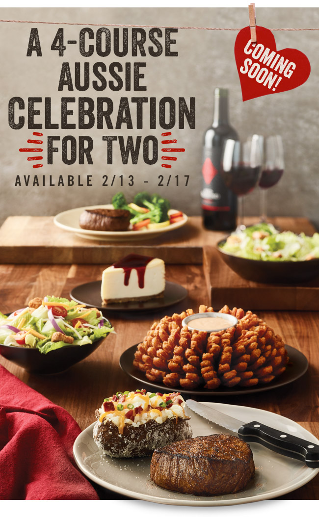 Coming soon... a 4-Course Aussie Celebration for Two, available 2/13-2/17