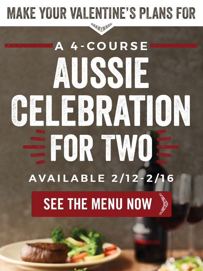 Make your Valentine's plans for a 4-Course Aussie Celebration for Two.