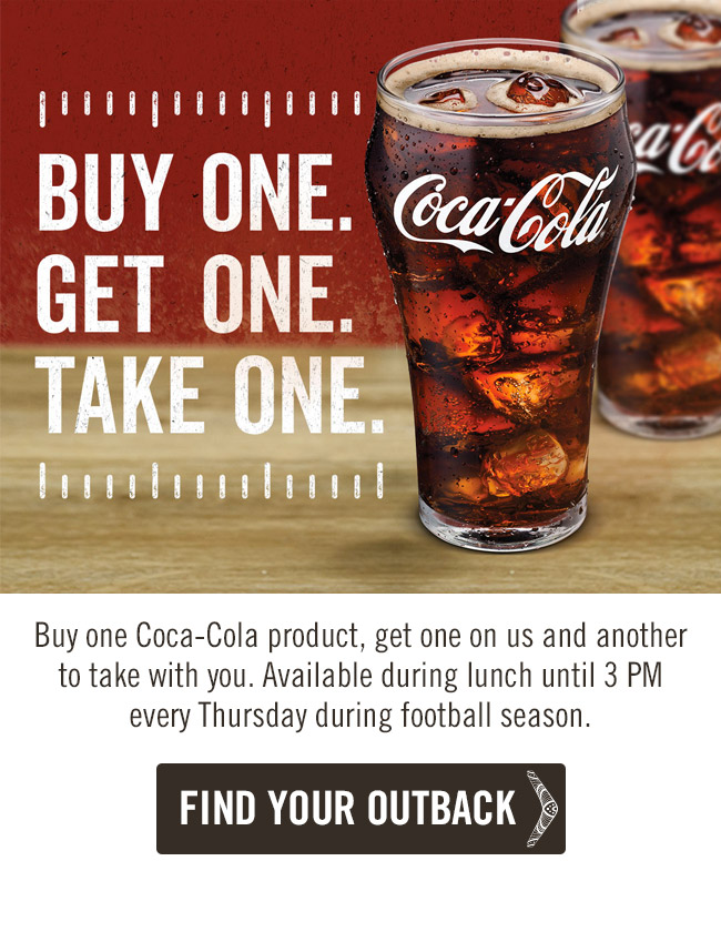 Buy one Coca-Cola product, get one on us and another to take with you. Available during lunch until 3 PM every Thursday during football season.