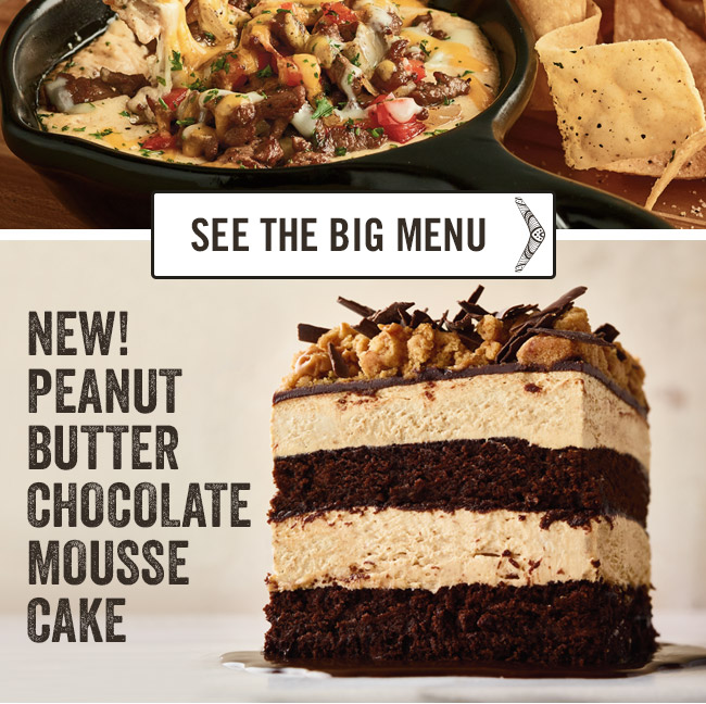 Ultimate Great Barrier Combo, Three Cheese Steak Dip and Peanut Butter Chocolate Mousse Cake