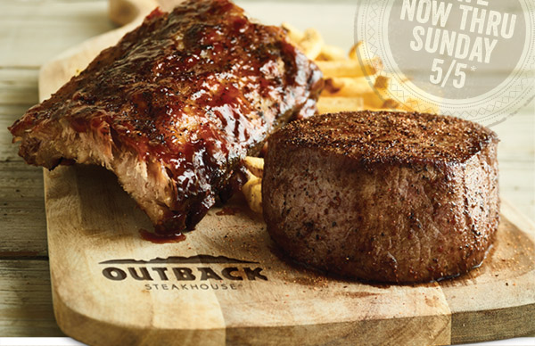 You're running out of time to enjoy Steak & Ribs, so let us tempt you with your choice of savings thru Sunday 5/5*