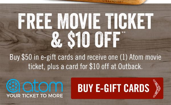 Free Movie Ticket & $10 Off**